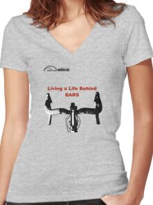 Cycling T Shirt - Life Behind Bars Women's Fitted V-Neck T-Shirt