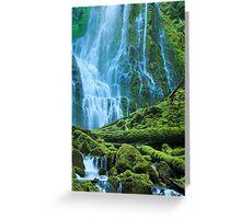 Green Waterfall Greeting Card