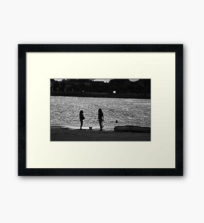 Sunset Girls Framed Print