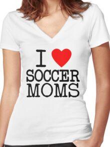 I Heart Traditional Soccer Moms Women's Fitted V-Neck T-Shirt