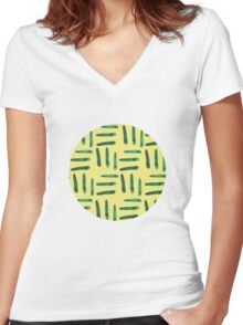 Green hatch on yellow Women's Fitted V-Neck T-Shirt