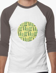 Green hatch on yellow Men's Baseball ¾ T-Shirt