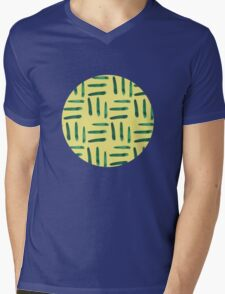 Green hatch on yellow Mens V-Neck T-Shirt