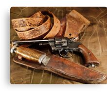 Revolver, Hunting Knife and Leather Canvas Print