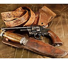 Revolver, Hunting Knife and Leather Photographic Print