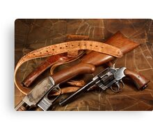 Pistol, Rifle, Holster and Belt Canvas Print