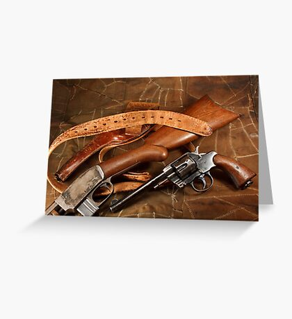 Pistol, Rifle, Holster and Belt Greeting Card