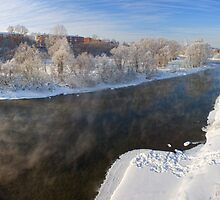 Mist under the winter river. by Vanger