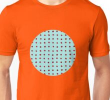 Red dot on blue Unisex T-Shirt