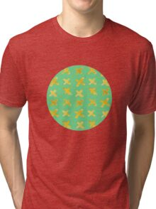 Yellow cross on green Tri-blend T-Shirt