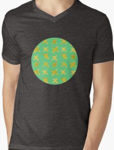 Yellow cross on green Mens V-Neck T-Shirt