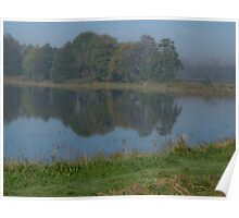 hazy morning on ponds in Zaborzu, Silesia, Poland Poster
