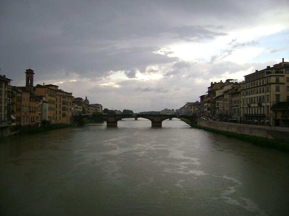 bridges of firenze under stormy sky by bearhat