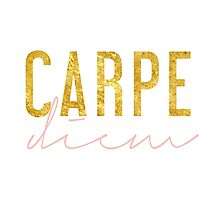 Carpe Diem - Seize the Day - Peach and Gold Photographic Print