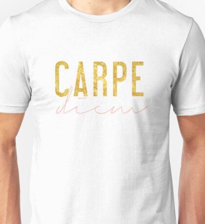 Carpe Diem - Seize the Day - Peach and Gold Unisex T-Shirt