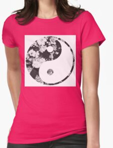 Floral Yin Yang Womens Fitted T-Shirt
