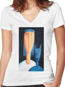 Woman and Cat Women's Fitted V-Neck T-Shirt