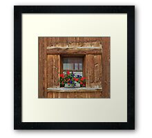 Wooden Window and Geraniums Framed Print