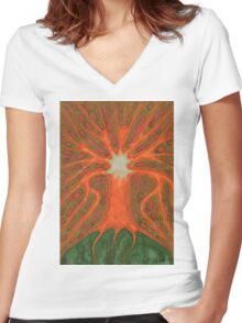 Tree's Light Women's Fitted V-Neck T-Shirt
