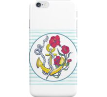 anchor with red flower and blue stripes iPhone Case/Skin