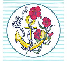 anchor with red flower and blue stripes Photographic Print