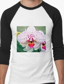 Spotted Violet and White Orchid Men's Baseball ¾ T-Shirt