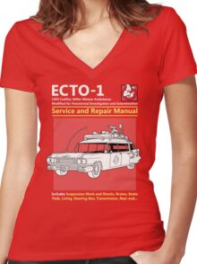 ECTO-1 Service and Repair Manual Women's Fitted V-Neck T-Shirt