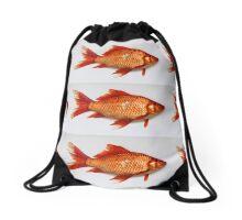 Goldfish Need Breaks Too by Kordial Orange Drawstring Bag