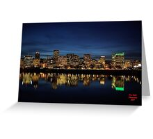 The Waterfront After Dark Portland, Oregon Greeting Card