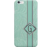 1920s Blue Deco Swing with Monogram letter G iPhone Case/Skin