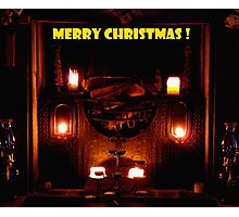 Candlelight fireplace for Christmas Photographic Print