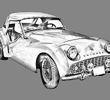 1957 Triumph TR3 Convertible Sports Car Illustration by KWJphotoart