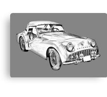 1957 Triumph TR3 Convertible Sports Car Illustration Canvas Print