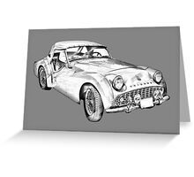 1957 Triumph TR3 Convertible Sports Car Illustration Greeting Card