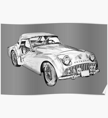 1957 Triumph TR3 Convertible Sports Car Illustration Poster