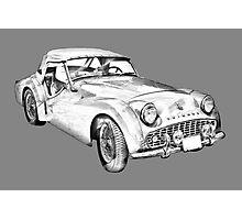 1957 Triumph TR3 Convertible Sports Car Illustration Photographic Print