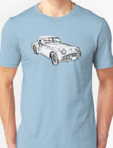 1957 Triumph TR3 Convertible Sports Car Illustration T-Shirt