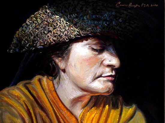On the Cusp, Self Portrait With Straw Hat by Cameron Hampton