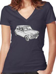 Mini Cooper Illustration Women's Fitted V-Neck T-Shirt