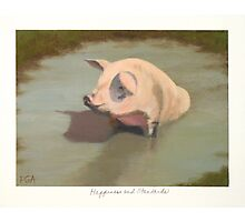 Happy Pig Wallowing in Mud Photographic Print