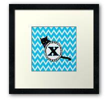 X Cat Chevron Monogram Framed Print