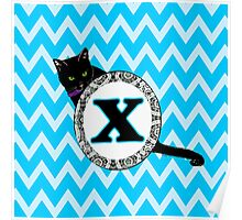 X Cat Chevron Monogram Poster