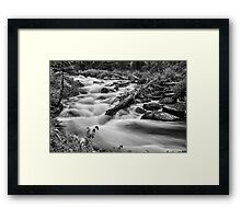 Flowing Rocky Mountain Stream in Black and White Framed Print