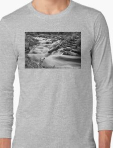 Flowing Rocky Mountain Stream in Black and White Long Sleeve T-Shirt