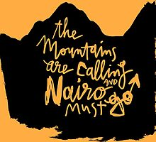 The Mountains Are Calling and Nairo Must Go, Lettering & Background on TDF Yellow  by finnllow