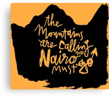 The Mountains Are Calling and Nairo Must Go, Lettering & Background on TDF Yellow  Canvas Print