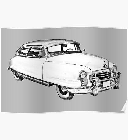 1950 Nash Ambassador Car illustration Poster