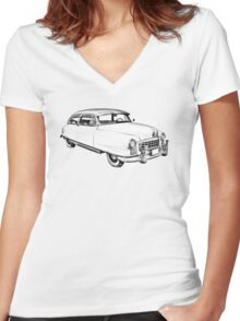 1950 Nash Ambassador Car illustration Women's Fitted V-Neck T-Shirt