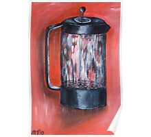 Coffee Pot in Red Poster