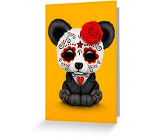 Red Day of the Dead Sugar Skull Panda on Yellow Greeting Card